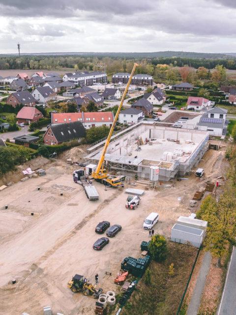 Luftaufnahme zukünftiger Supermarkt Netto Stelle Projekt von Sallier Bauträger