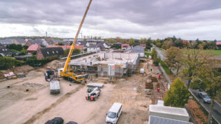 Baustelle Supermarkt Netto Stelle Sallier mit Kran, LKW, Bauarbeiter Objekt von Bauträger